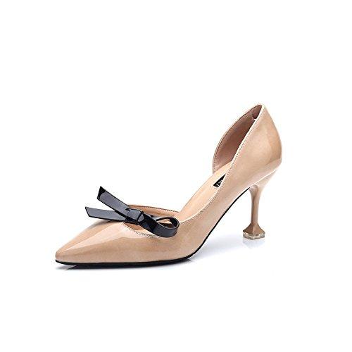 Ajunr Moda/elegante/Transpirable/Sandalias Con una punta fina sexy Los zapatos El gato con botas Arco Lado vacío 7cm talones albaricoque ,44 36