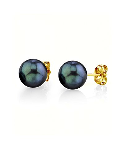 THE PEARL SOURCE 18K Gold 7-7.5mm AAA Quality Round Black Akoya Cultured Pearl Stud Earrings for Women