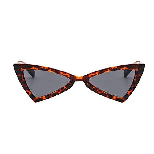 Métal Inlefen Femmes Eye soleil Hommes Cat Gris Mode de lunettes Léopard Triangle Charnières Lunettes z1SFqznwr