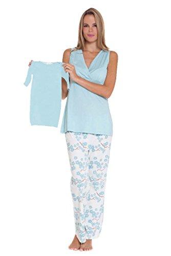 Olian Anne 5 Piece Mom And Baby Maternity Nursing Pajama Gift Set - Cherry Blossom - Blue/White - Large
