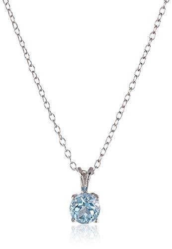 - Sterling Silver Blue Topaz Pendant Necklace, 18