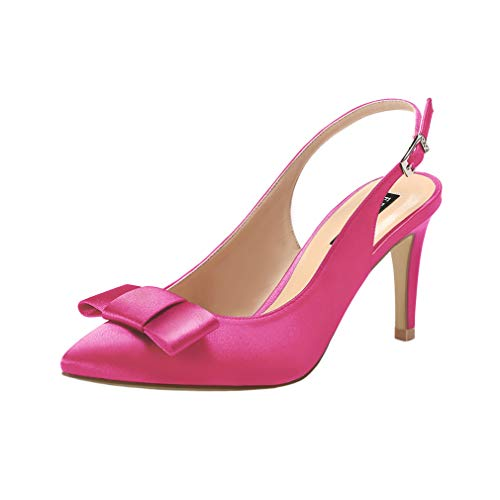 ERIJUNOR E2415 Pointy Toe Pumps Mid Heels Wedding Evening Party Prom Slingback Satin Shoes Hot Pink Size 8