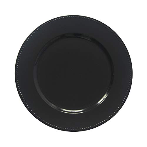 Black Plastic Beaded Charger Plates - 12 pcs 13 Inch Round Wedding Party Decroation Charger Plates (Black, 12) by Welmatch
