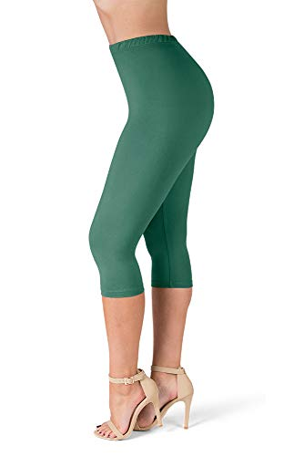 - SATINA High Waisted Ultra Soft Capris Leggings - 20 Colors - Reg & Plus Size (One Size, Teal)