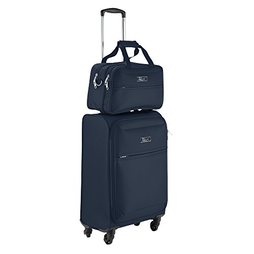 (Cabin Max Copenhagen Business Hand Luggage Set - Trolley Suitcase 55x40x20cm and Stowaway Bag 35x20x15cm (Navy))