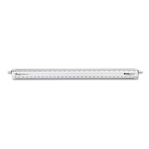 "CHARTPAK/PICKETT 240 Adjustable Triangular Scale Aluminum Engineers Ruler, 12"", Silver"