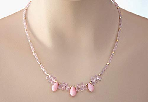 14K Gold Gemstone Beaded Necklace Pink Opal Drop Pendants Morganite 16 inches LLD ()