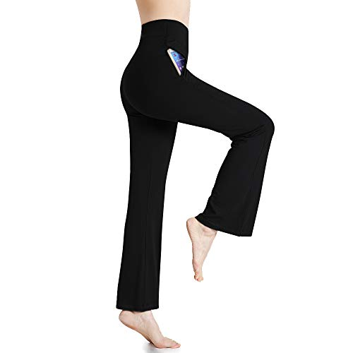 (MILANKERR Women Yoga Pants High Waist Lounge Boot-Cut Long Workout Pants with Pockets Black)