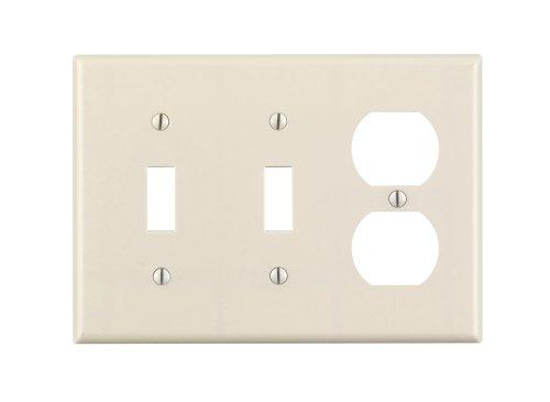 Almond Plastic Plugs (Leviton 78021 3-Gang 2-Toggle 1-Duplex Device Combination Wallplate, Standard Size, Thermoset, Device Mount, Light Almond)