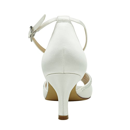 Satin Pleat Heel Dress Dance Shoes Strap Wedding White Low Comfort Rhinestones Ankle Evening Women ERIJUNOR Zq0fw8w