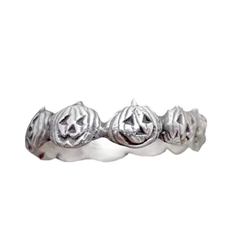 lEIsr00y Vintage Pumpkin Halloween Finger Ring Women Men Party Jewelry Accessory Gift - Antique Silver US 7 -