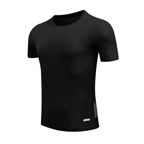 Rakkiss_Men T-Shirt Solid Silm Fit Tops Fast Drying Elastic Sports Tee Breathable Tight Summer Clothes Black