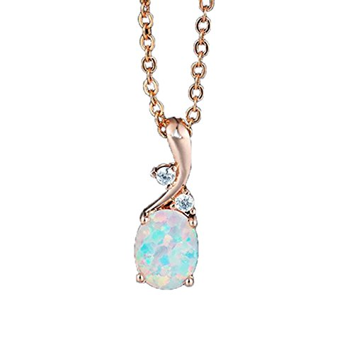 - AILUOR Vintage Opal Pendant Necklace, Sterling Silver Created Gemstone Oval White Opal Fashion Jewelry for Women Mother Girls - Endless Love (Rose Gold)