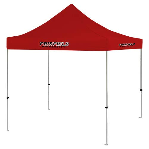 CollegeFanGear Fairfield 9 ft x 9 ft Red Tent 'Fairfield University Stacked' -