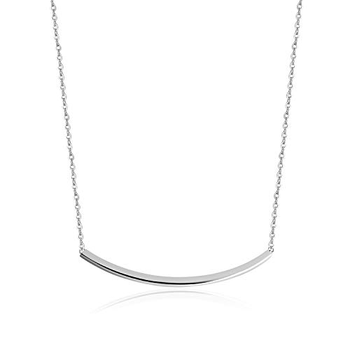 VogueWe 925 Sterling Silver Curved Bar Necklace, Smile Necklace, Balance Tube Bar Pendant Necklace for Women, - Curved Sterling Silver Tube