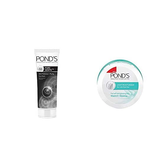 Pond's Pure White Anti Pollution With Activated Charcoal Facewash, 100g And Pond's Light Moisturiser, 250ml