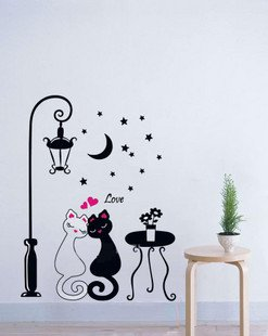 Vinilo decorativo pegatina pared, cristal, puerta (Varios colores a elegir) farola y gatos: Amazon.es: Hogar