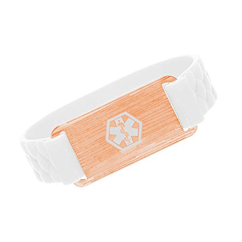 BBX JEWELRY Rose Gold Medical Alert ID Bracelet with 14MM Silicone Band for Womens Girls