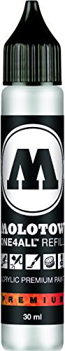 Molotow ONE4ALL Acrylic Paint Refill, For Molotow ONE4ALL Paint Marker, Signal White, 30ml Bottle, 1 Each (693.160) (Paint Refills)