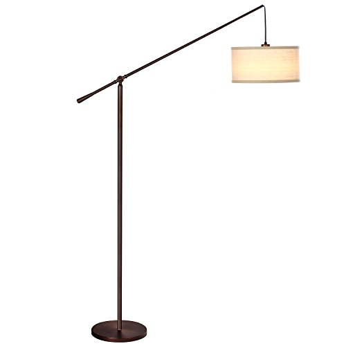 Brightech Hudson 2nd Gen Pendant Floor Lamp – Classic Elevated Crane Arc Floor Lamp with Linen-Textured Hanging Lamp Shade- Tall, Industrial, Uplight Lamp for Living Room - Oil Brushed (Gen Metal)