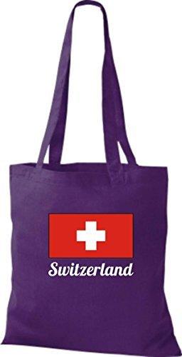 ShirtInStyle Bolso de tela Bolsa de algodón Yute de país Suiza Suiza - fucsia, 38 cm x 42 cm lila, morado