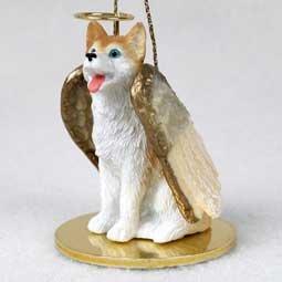 - Husky Angel Dog Ornament - Red & White