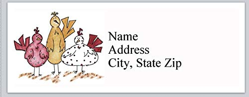 Labels Address Chicken - 150 Personalized Return Address Labels Cartoon Chickens (bx 817)