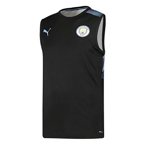 PUMA 2019-2020 Manchester City Sleeveless Football Soccer T-Shirt Jersey (Black)