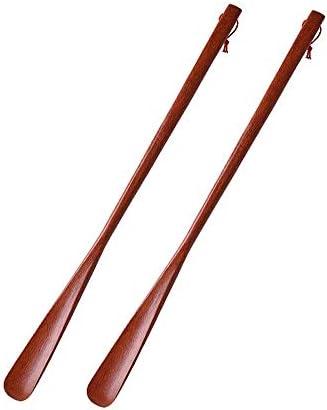 シューホーン 便利なハンギングループ2パック木製靴べら70センチメートルロングシューホーン非常に便利なガジェット 便利で多くの人に適用可能 (色 : 褐色, Size : 70*4cm)