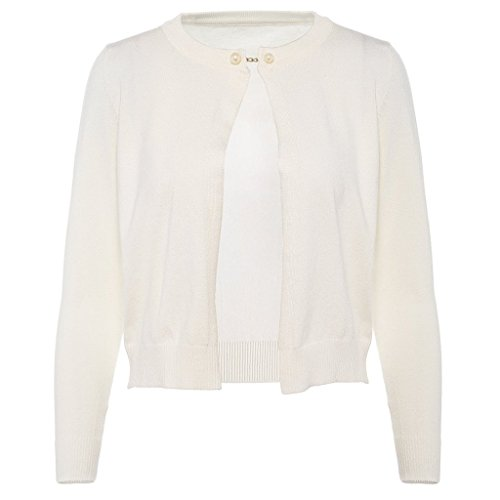 Women's Casual Cardigan Soft Comfy Knit Shawl Buckle Open Front Sweater Short Coat White M