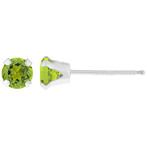 .24 CT Round 3MM Green Peridot 14K White Gold Stud Birthstone (0.24 Ct Earring)