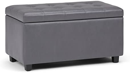 SIMPLIHOME Cosmopolitan 34 inch Wide Rectangle Lift Top Storage Ottoman