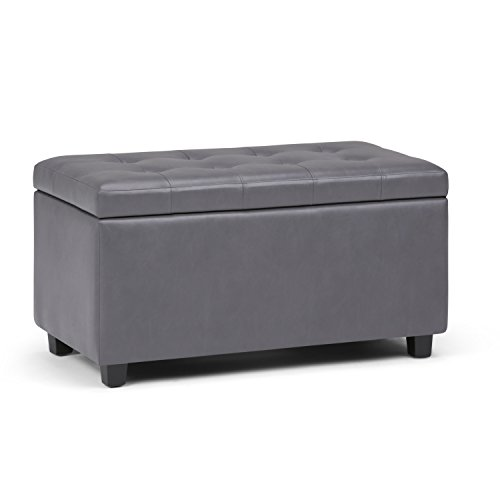 Simpli Home AY-S-38-G Cosmopolitan 34 inch Wide Contemporary  Storage Ottoman in Stone Grey Faux Leather