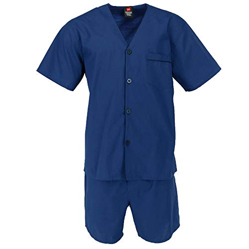 (Hanes Men's Short Sleeve Short Leg Pajama Set, Medium, New Navy)