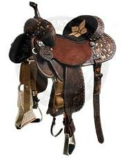Manaal Enterprises Premium Leather Western Barrel Racing Adult Horse Saddle Size 14-18 Inches Seat