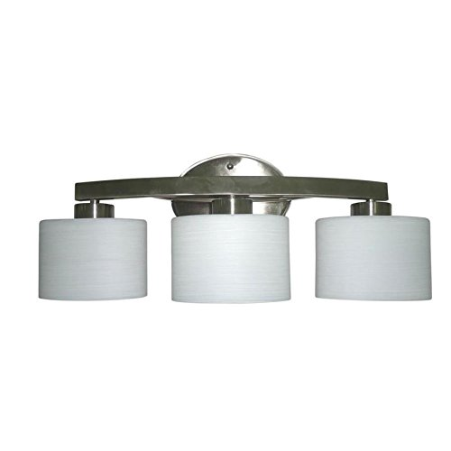 allen + roth 3-Light Merington Brushed Nickel Standard Bathroom Vanity Light - Standard Vanity Lighting
