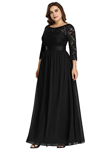 Ever-Pretty Womens Plus Size Wedding Party Mother of The Groom Dresses for Women Black US 16