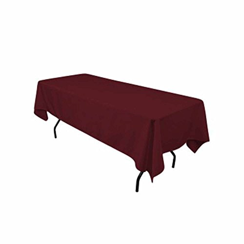 "Gee Di Moda Rectangle Tablecloth - 60 x 102"" Inch - Burgundy Rectangular Table Cloth for 6 Foot Table in Washable Polyester - Great for Buffet Table, Parties, Holiday Dinner, Wedding & More"