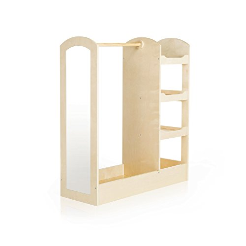 Guidecraft See and Store Dress-up Center - Natural: Armoire for Kids with Mirror & Shelves, Clothes Rack and Shoe Storage Dresser with Bottom Tray - Toddlers Room Furniture