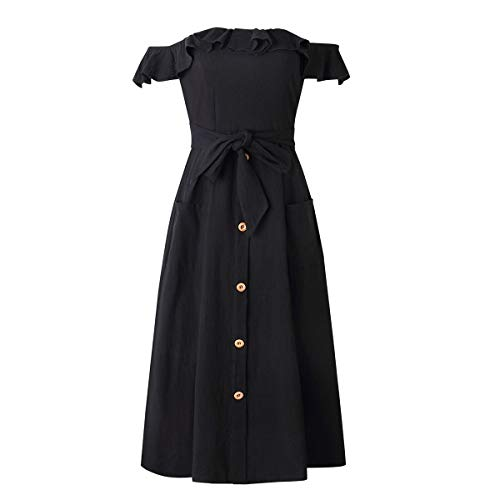 Mujer Puseky Casual Fiesta Vestido Sexy Hombros De Y Descubiertos Black Volantes Con rqzrgw