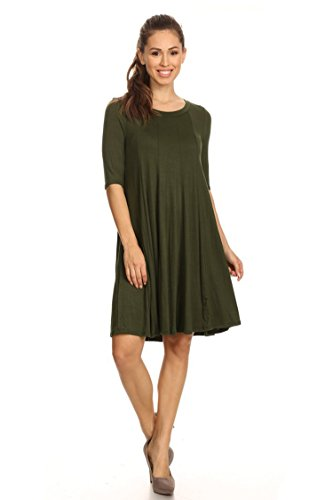 Casual half Sleeve Loose Fit T-Shirt Solid Dress/Made in USA Olive (Casual Half Sleeve)