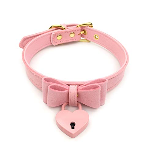 Sexy Pink Kitty - Intimate Lover Bell Choker Collar Necklace Lolita Heart Bow Collar Cat Cosplay Kitty Velvet Necklace (G)