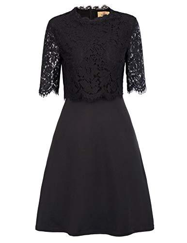 GRACE KARIN Women's Floral Lace Short Sleeve Cocktail Tunic Shift Dress M Black