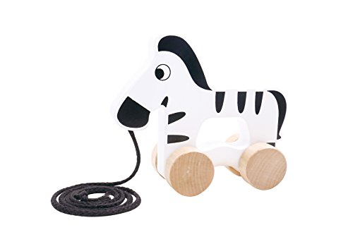 Bear Pull Toy - Toddle Toy Adorable Walking Toys For 1 Year Old – Cutest Wooden Zebra Pull Along Toy for Baby, Toddler - Ideal 1 Year Old Boy Girl gifts by