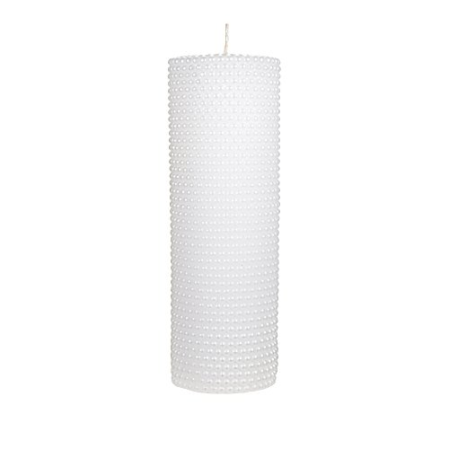 Mega Candles Unscented White Round Pearl Pillar Candle | Hand Poured Premium Wax Candles 3'' x 9'' | For Home Décor, Wedding Receptions, Baby Showers, Birthdays, Celebrations, Party Favors & More by Mega Candles