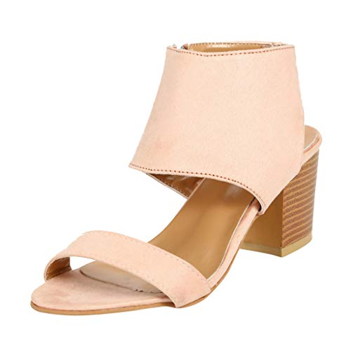 Aunimeifly Women's Plain High-Heeled Shoes Ladies Pointed Toe One Band Chunky Heel Side Zipper Sandals Shoes Khaki
