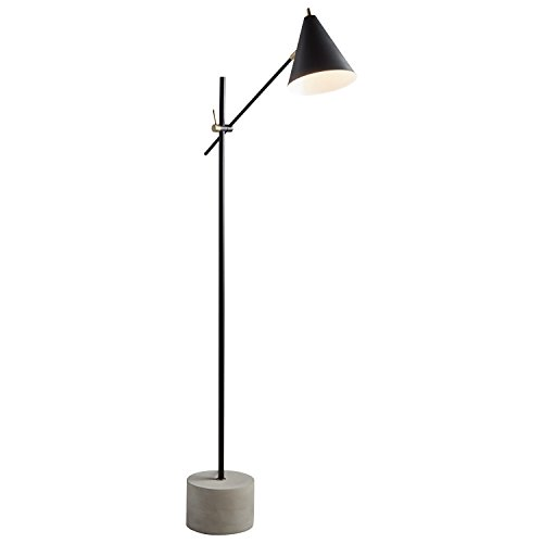 Rivet Mid-Century Modern Steel Floor Lamp, 57″H, With Bulb, Matte Black with Brushed Steel Accents 314KuyquZTL