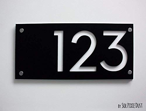 Modern House Numbers, Rectangle Black with White Acrylic - Contemporary Home Address -Sign Plaque - Door Number ()