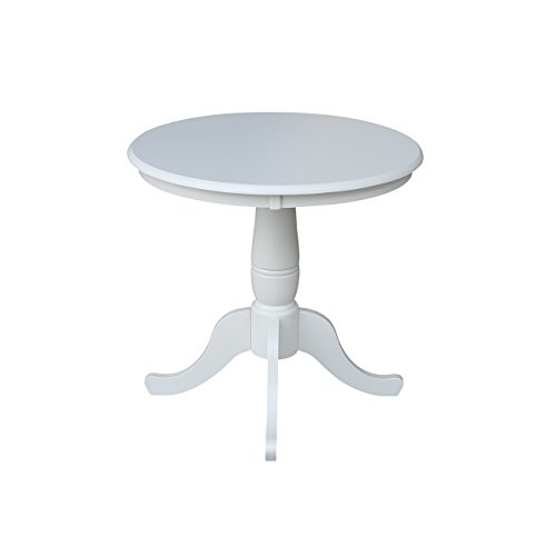 International Concepts 30-Inch Round by 30-Inch High Top Ped Table, Linen White