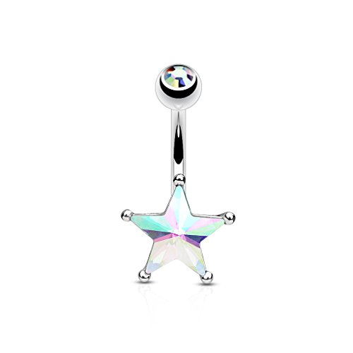 14G Crystal Star Set Belly Button Navel Ring 316L Surgical Steel (CHOOSE COLOR) (Aurora Borealis)
